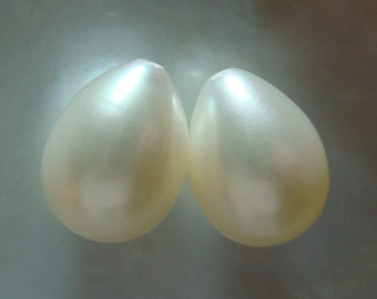 Fresh Water Pearl, AAA, Wonderful lustrous, Gorgeous Genuine Freshwater Teardrop Pearls, Half Drilled, 11-12x8-8.5mm, Sale