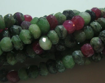 4-4.5 mm, 1/2 strand, AA Beautiful Natural Ruby Zoisite Faceted Rondelle