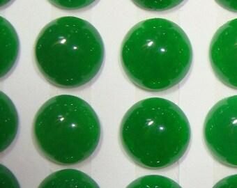 Emerald Green Quartz Round Cabochon, 9.5x4.5m, 6 pcs