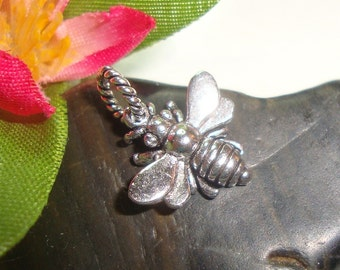 Sale - 10% off Sterling Silver 3D Honeybee Charm, 1 pc, 15x13 mm, Oxidized Honey Bee Charm - lovely - timeless - cute - PC-0002