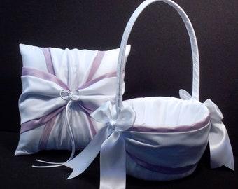 Lavender Accent White or Ivory Wedding Ring Bearer Pillow Flower Girl Basket 2 Piece Set
