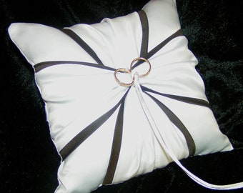 White or Ivory Wedding Ring Bearer Pillow Espresso Truffle Brown  Accent
