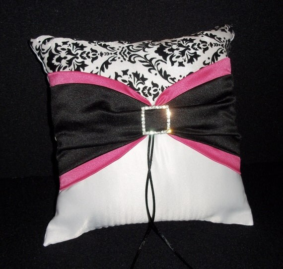 Hot Pink & Black and White Damask Rhinestone Accent  Wedding Ring Bearer Pillow