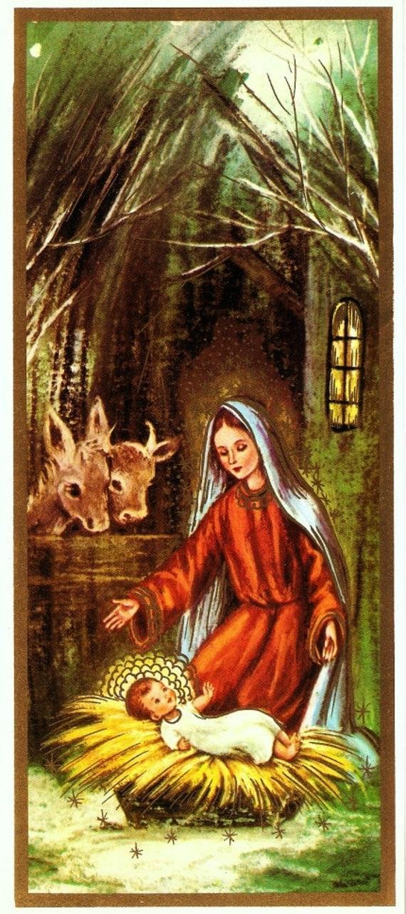 Vintage Christmas Card Mary Baby Jesus Nativity Scene