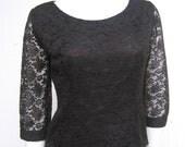 vintage 50s black lace blouse s