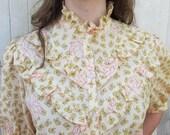 vintage 70s  blouse prairie ruffle floral print  M / L