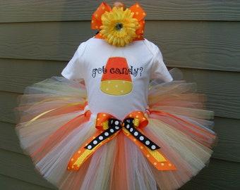 Custom Tutus..GOT CANDY tutu set, HALLOWEEN,size 3,6,9,12,18,24 months and 2T,3T,4T,5T,6..costume, dress up, fairy,photo prop, halloween