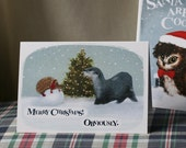 Set of 3 Obviously Otter and Hedgehog - Sherlock Christmas Cards