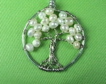 """1.25"""" Fresh Water Pearl Tree of Life Necklace"""