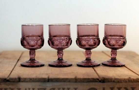 amethyst cordial goblets indiana glass co kings crown