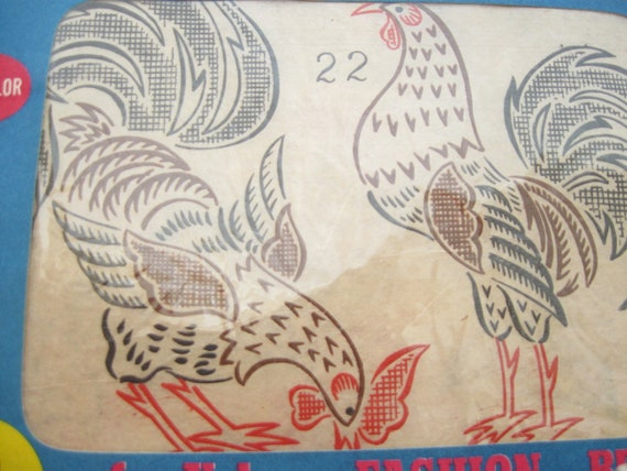 Roosters and Fruit Iron On Embroidery Transfers Vintage Vogart TextilPrints Lot of 2