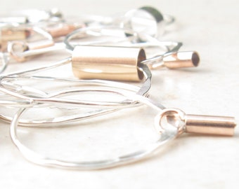 Gold and Sterling Silver Hammered Hoops Necklace