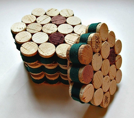 Honeycomb Wine Cork Coasters with Forest Green Ribbon - Set Of Four - Eco Friendly Christmas, Woodland Wedding, Fall Home Decor