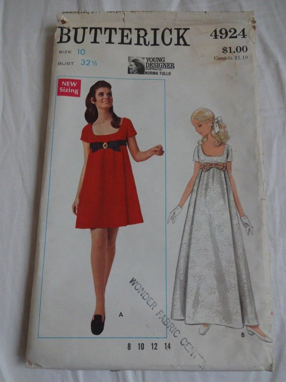 On Sale - Vintage Butterick 4924 Sewing Pattern 1960's Young Designer Norma Tullo Size 10 Empire Waist Babydoll Scoop Neck Dress