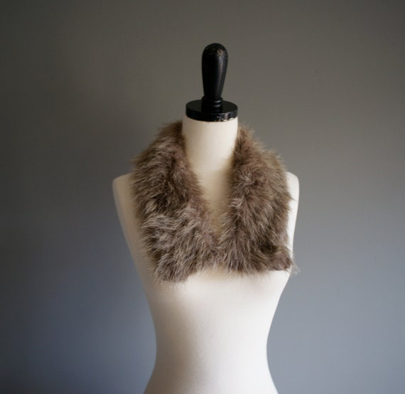 60s FAUX Ash Brown FUR Collar