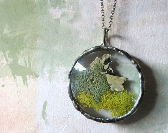 Green Moss Lichen Pendant Necklace. Sterling Silver Chain. Round Medium Glass Lens. Woodland Jewelry