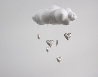 Silver Heart Cloud Mobile- modern fabric sculpture for baby nursery decor in white linen and metallic faux leather- Free US Shipping