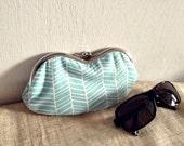 Eyeglass / Sunglasses Case - Aqua blue Herringbone