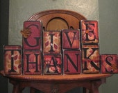 Give Thanks, Thanksgiving Decor, Thanksgiving Sign, Fall Decor, Fall Sign, Thanksgiving Decoration, Autumn Decor, Word Art Blocks
