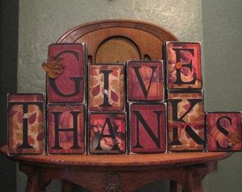 Give Thanks, Thanksgiving Decor, Thanksgiving Sign, Fall Decor, Fall Sign, Thanksgiving Decoration, Autumn Decor, Word Art Blocks