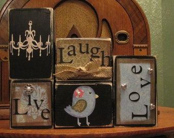 Live, Laugh, Love Sign Blocks with Fat Birdie and Chandelier