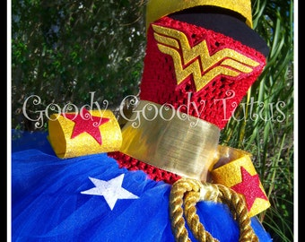 WONDERFULLY CUTE  Wonder Woman Inspired Crochet Tutu Dress with Lariat, Wrist Cuffs and Tiara - Small 12/18mos