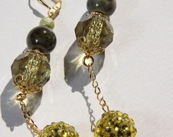 "3"" 1/2 L Olive Porcelain, Rhinestone bead dangle earring"