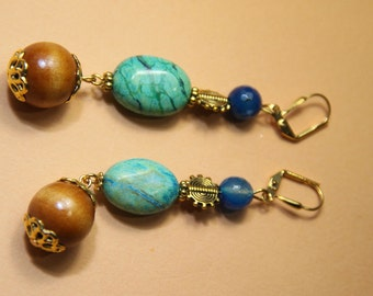 """3"""" L Amazonite, Blue Fire agate stones, African inspired bead,  dangle earrings"""