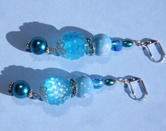 "3"" 1/4 L  Capri blue color porcelain, resin rhinestone bead, dangle earring"