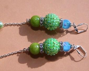 "4"" L Aqua floral glass, Jade stone,  apple green rhinestone, dangle, drop earrings Caribbean Blues-Greens"