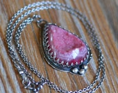 SALE Blushing Druzy Necklace, Bezel Set, Oxidized