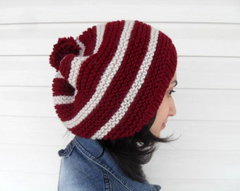 Burgundy Hat, Knitted Slouchy Hat, Christmas Hat, Ribbed,  Chunky Hat, Beanie, Beret, Gift For Her, Gift Under 30