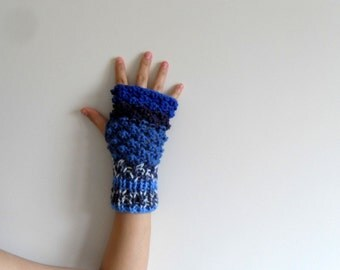Fingerless Gloves, Blue Gloves,Blackberry Knit, Bubbles, Popcorn Knit, Winter Fashion,Dark Blue, Azure Blue,Night Blue,Sapphire,Cobalt