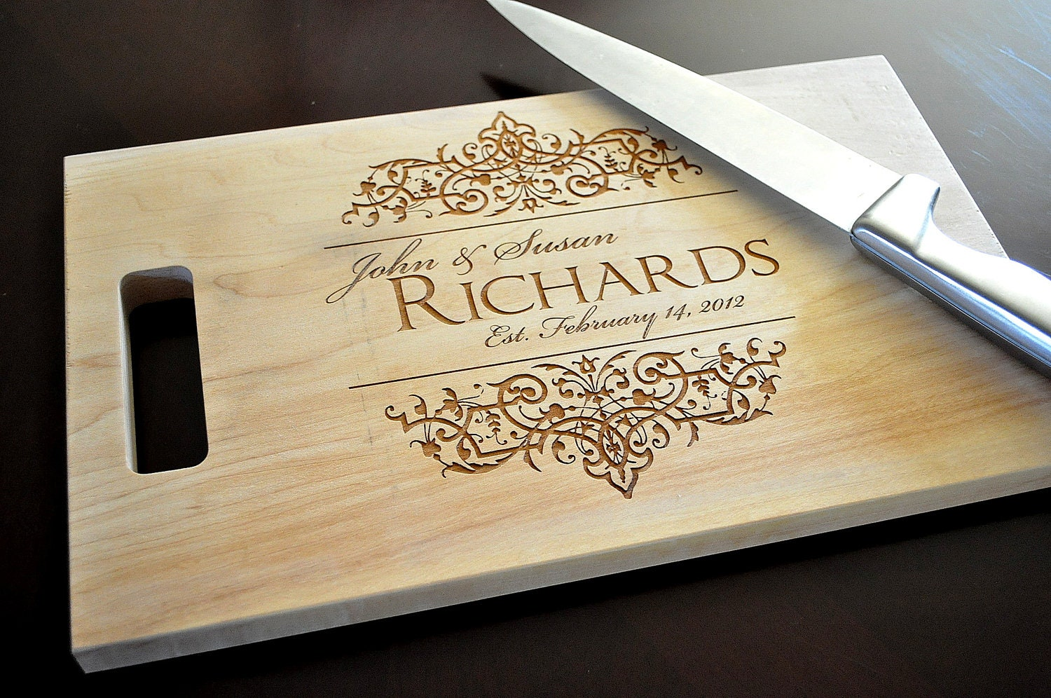 Personalized cutting board laser engraved 8x14 wood cutting - Engraved wooden chopping boards ...