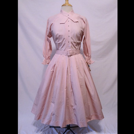 Reseerved for Tammy Vintage 50s Dress Pink Sash Neckline and Rhinestone Buttons Shirtwaisted Deadstock w/tags 1950s Dress M NOS