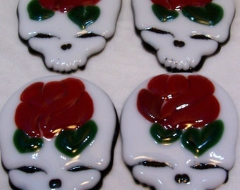 Skulls, Mosaic Supplies, Made To Order, Roses, Skulls And Roses, Fused Glass
