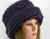Womens Hat Cloche Derby Style warm,thick and soft purple