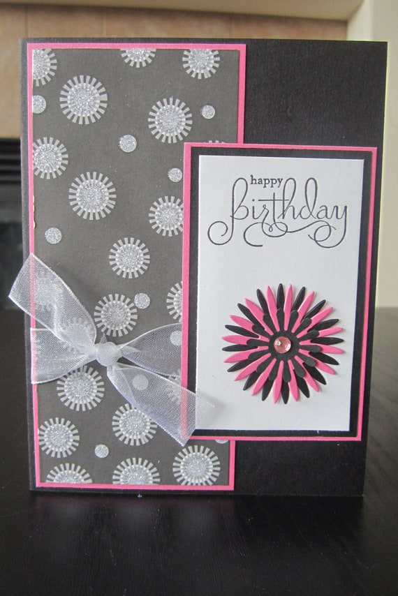 Items similar to Happy Birthday Glitter handmade greeting ...