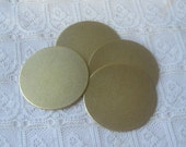 """1&3/16"""" Solid Brass Round Blanks for Stamping , Embossing, Etching, Mixed Metal Qty 4"""