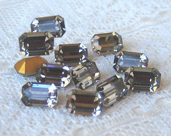 Swarovski 6x4 mm Black Diamond Octagon Vintage Rhinestone Lots of SPARKLE Qty 12