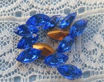 8x4 mm Swarovski Sapphire Blue Glass Navette Rhinestones