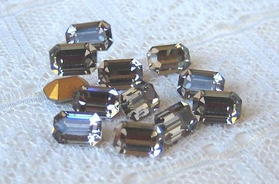 Swarovski 6x4 mm Black Diamond Octagon Vintage Rhinestone Lots of SPARKLE Qty 12