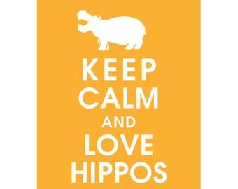 Keep Calm and LOVE HIPPOS (B) - Art Print (Featured in Clementine) Keep Calm Art Prints and Posters