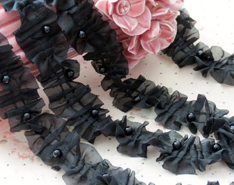 3 yards BLACK Chiffon Fabric Embroidery Lace Trim  with Pearl beads bridal wedding bridesmaid headband skirt dress