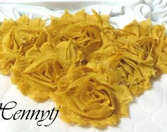 Set of 6 Shabby  Frayed Vintage look Chiffon Rosette Flowers - MUSTARD YELLOW