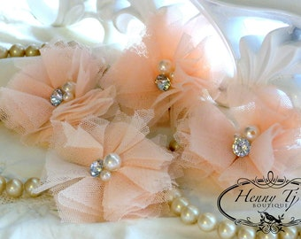 Elena TULLE : 4 pieces baby Peach Small Tulle Mesh Flowers With rhinestone Pearl Center Poof Flowers Hair accessories