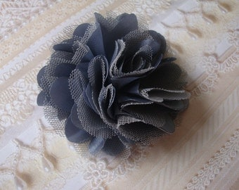 2 pcs - 3'' Satin mesh silk flowers without hair clip wedding bridal bridesmaid brooch flowers - Dark Grey