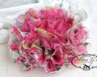 NEW COLOR : 1 pc Large Shabby Chic Frayed Chiffon Mesh and Lace Rose Fabric Flower - Vintage Pink Floral