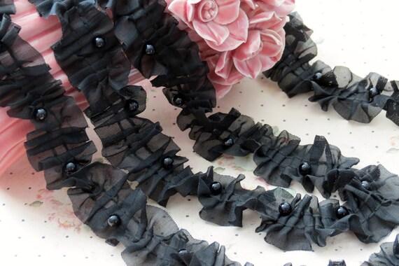 3 yards BLACK Chiffon Fabric Embroidery Lace Trim  with Pearl beads bridal wedding bridesmaid headband skirt dress
