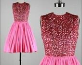 Vintage 1950s Dress . Pink Crepe Chiffon . Pink Sequins . Sleeveless . XS . 1739